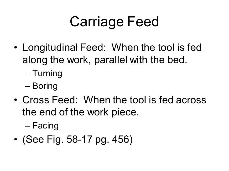 Carriage Feed Longitudinal Feed: When the tool is fed along the work, parallel with the bed. Turning.