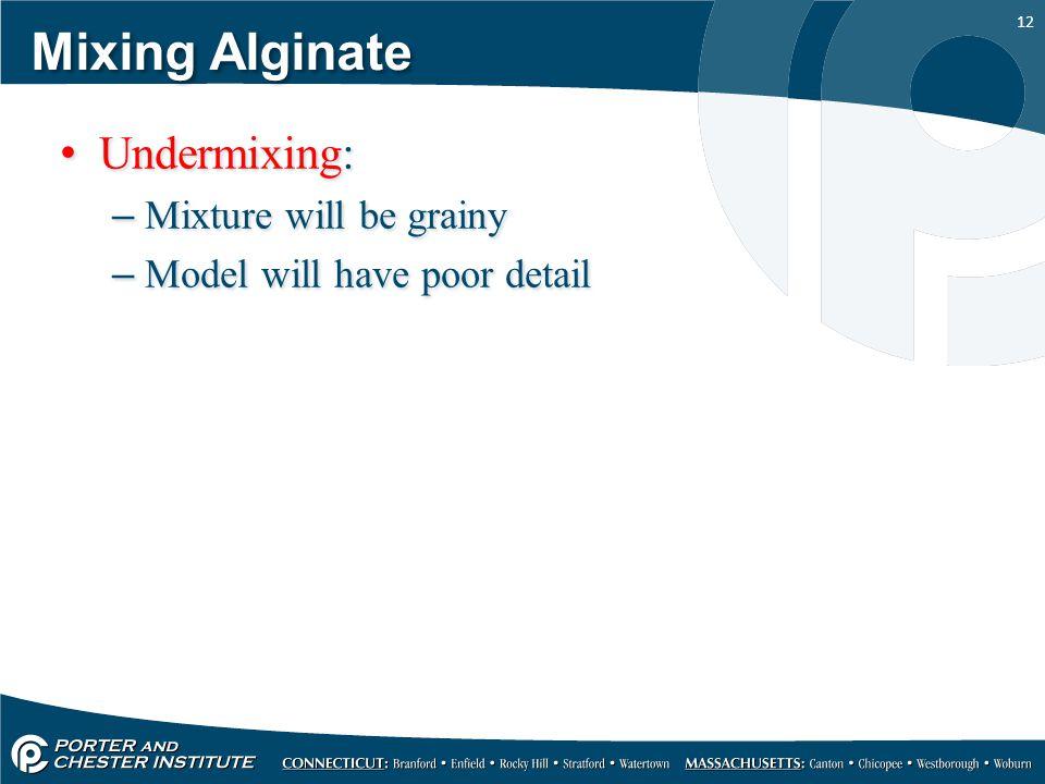 Mixing Alginate Undermixing: Mixture will be grainy