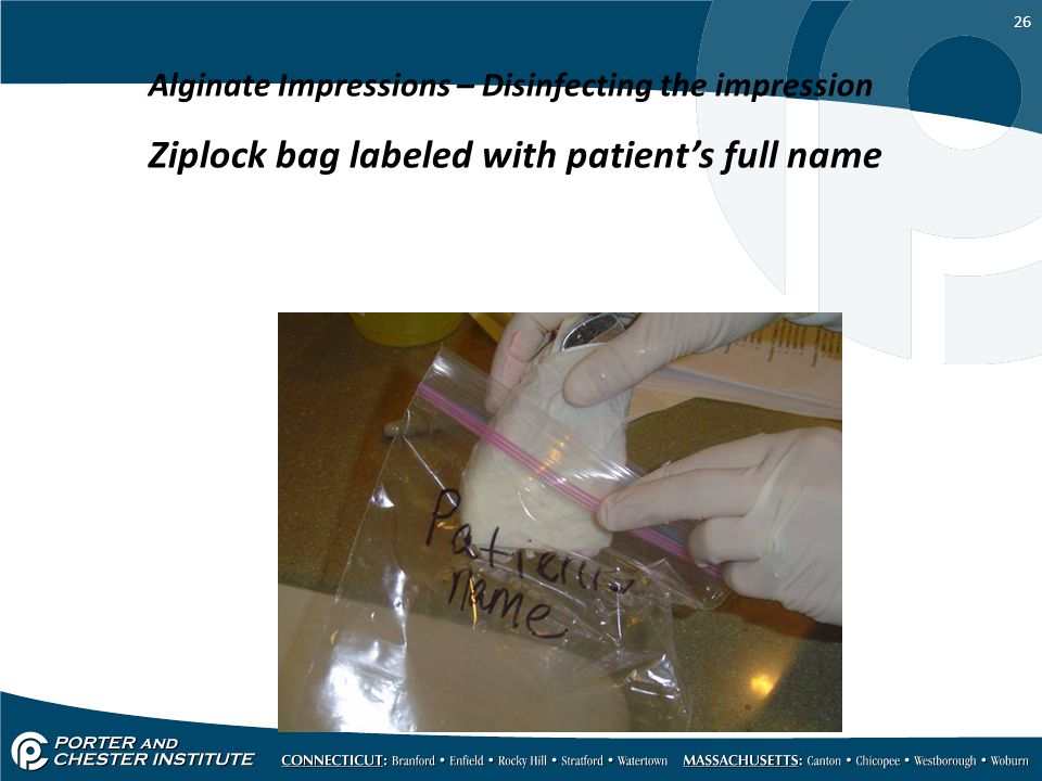 Ziplock bag labeled with patient's full name