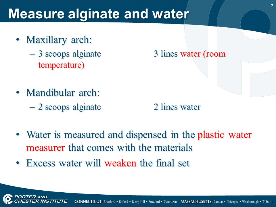 Measure alginate and water