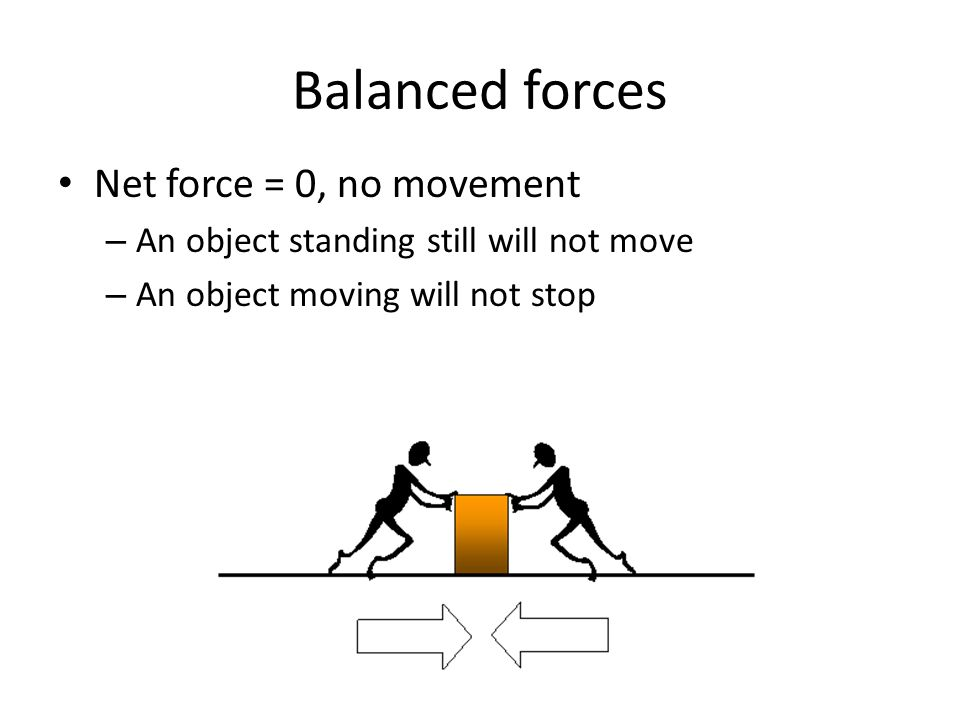 Balanced forces Net force = 0, no movement