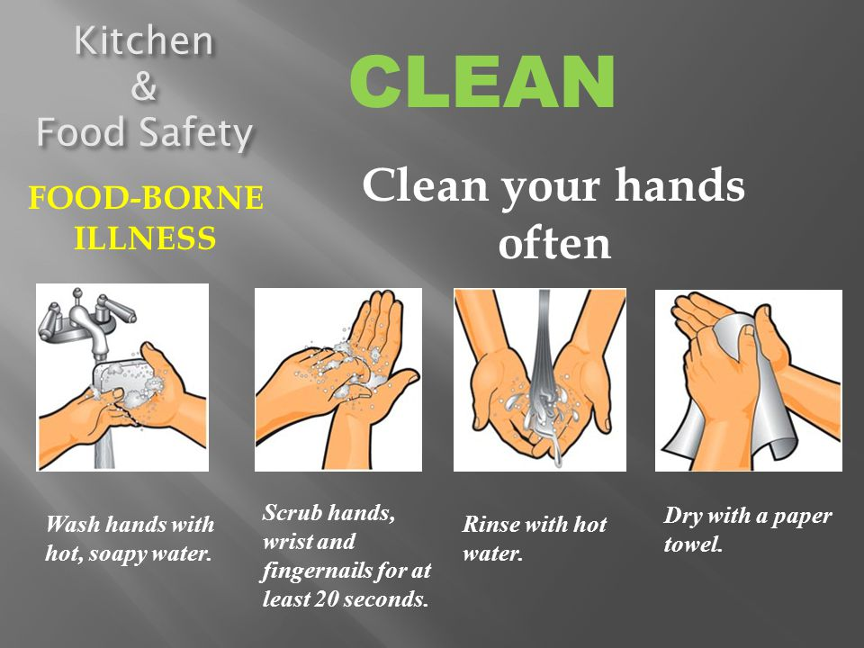 CLEAN Clean your hands often Kitchen & Food Safety FOOD-BORNE ILLNESS