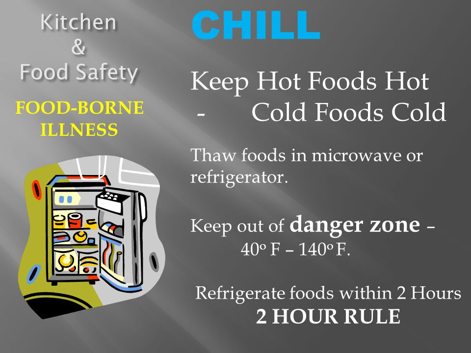 Refrigerate foods within 2 Hours 2 HOUR RULE