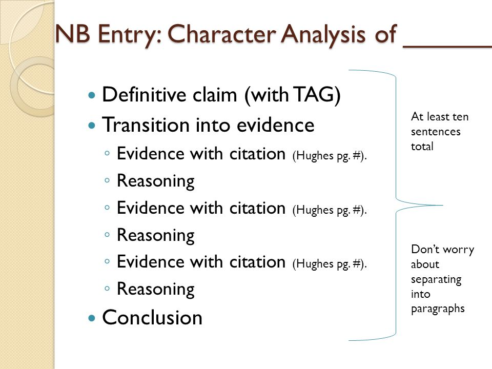 NB Entry: Character Analysis of ______