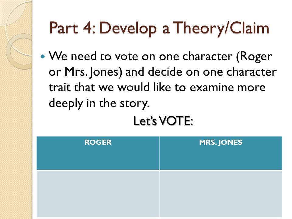 Part 4: Develop a Theory/Claim