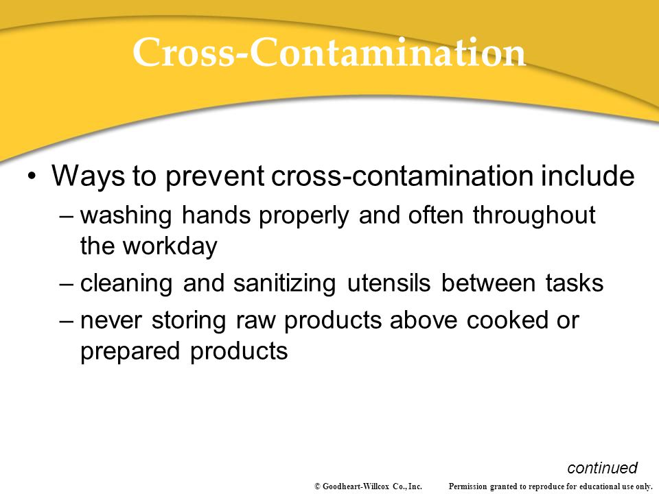 Cross-Contamination Ways to prevent cross-contamination include