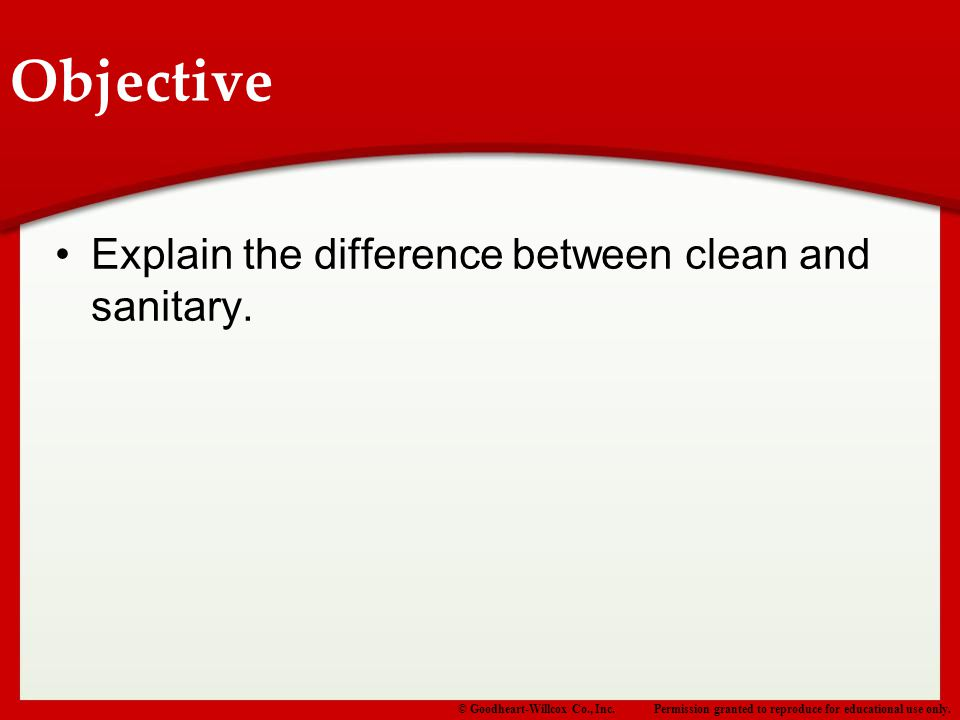 Objective Explain the difference between clean and sanitary.