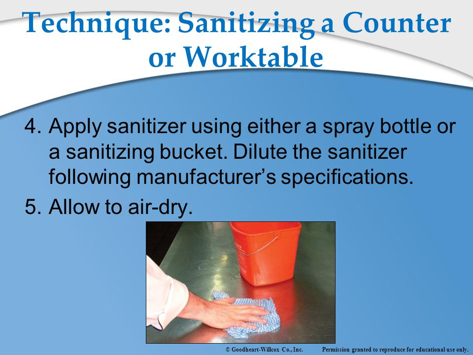 Technique: Sanitizing a Counter or Worktable