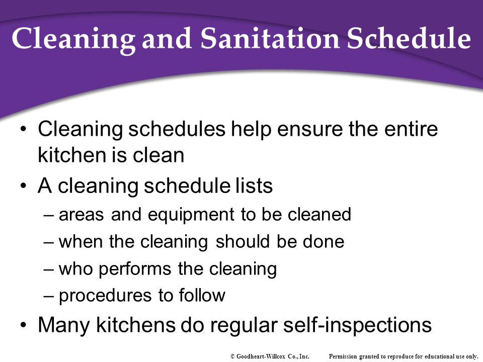 Cleaning and Sanitation Schedule