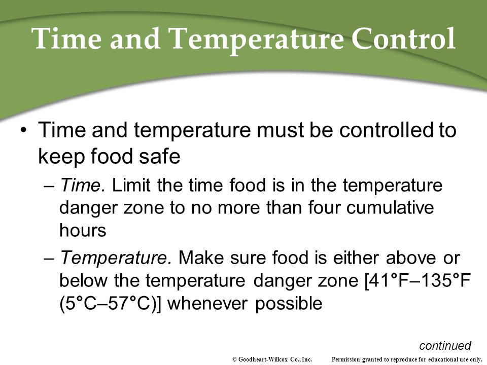 Time and Temperature Control