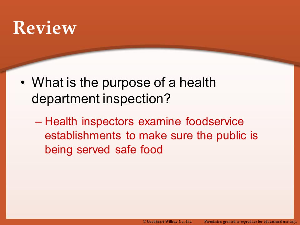 Review What is the purpose of a health department inspection