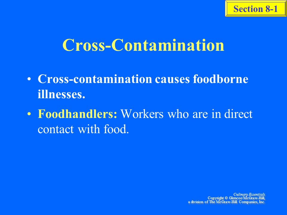 Cross-Contamination Cross-contamination causes foodborne illnesses.