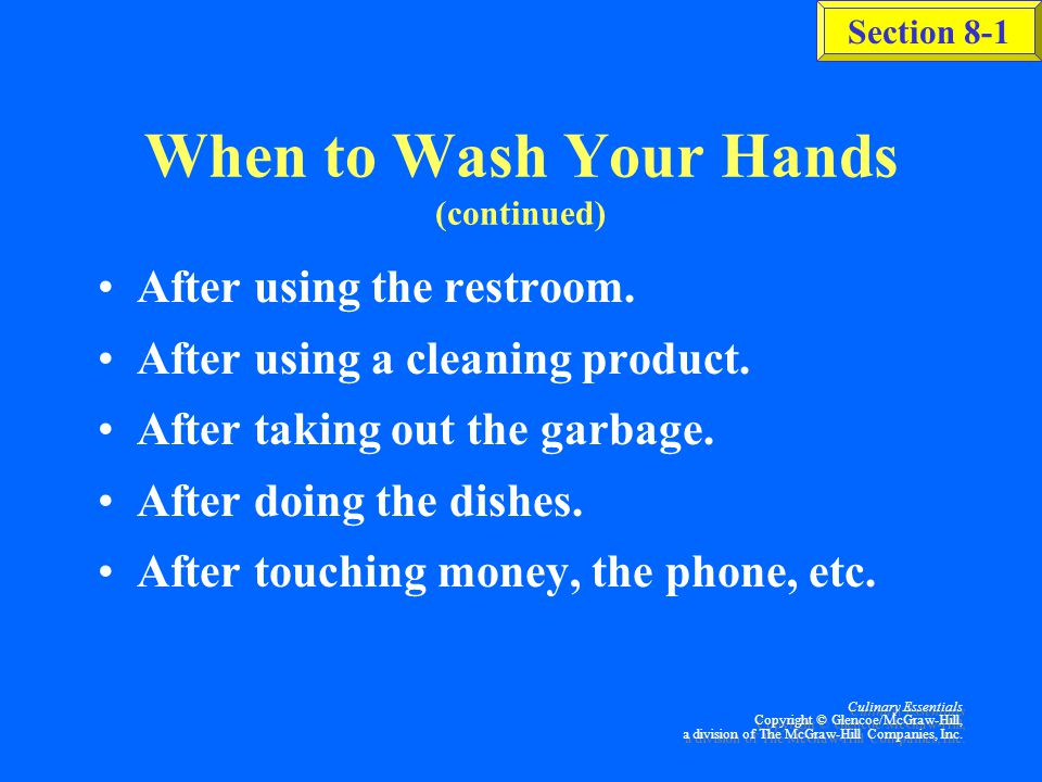 When to Wash Your Hands (continued)