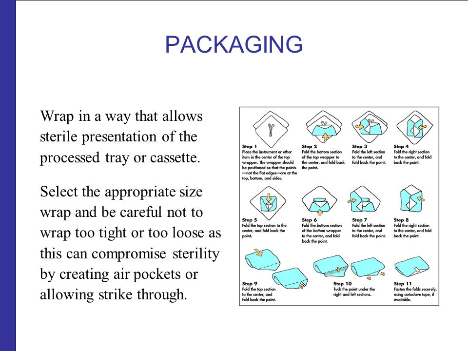 PACKAGING Wrap in a way that allows sterile presentation of the