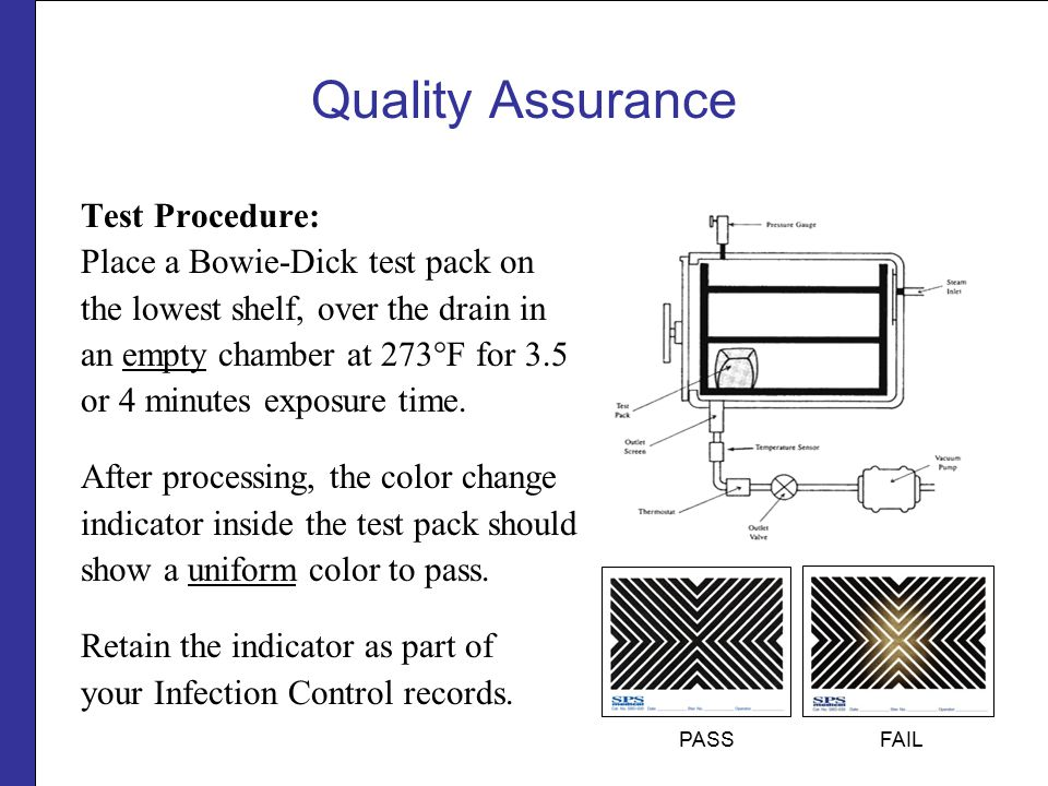 Quality Assurance Test Procedure: Place a Bowie-Dick test pack on