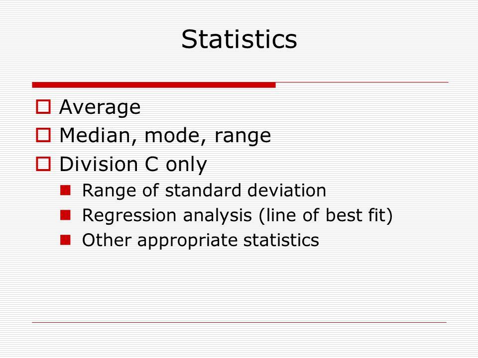 Statistics Average Median, mode, range Division C only