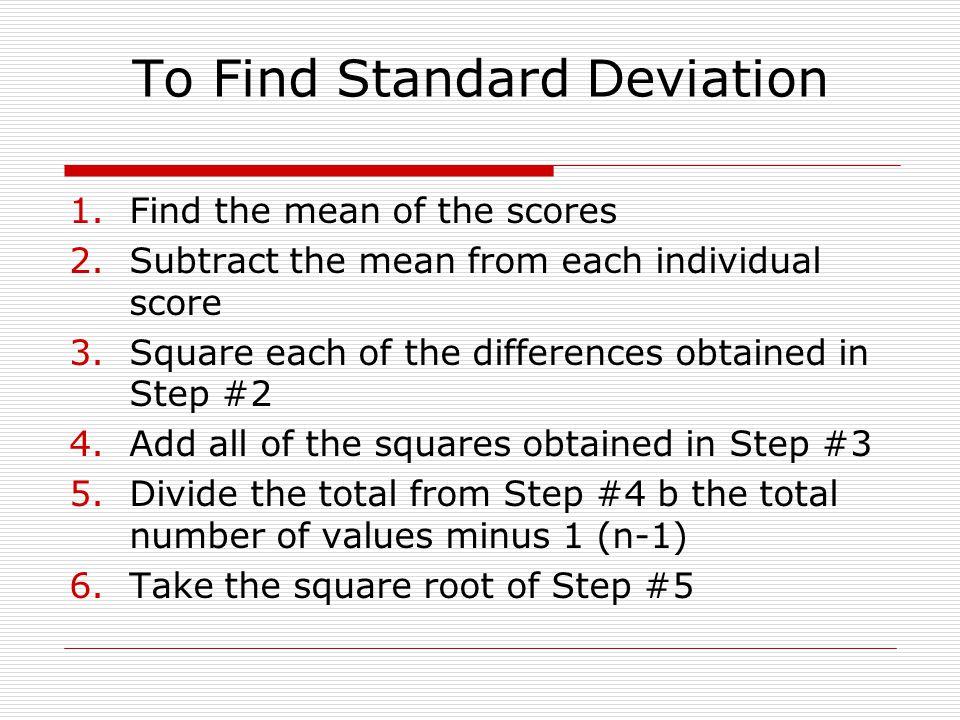To Find Standard Deviation
