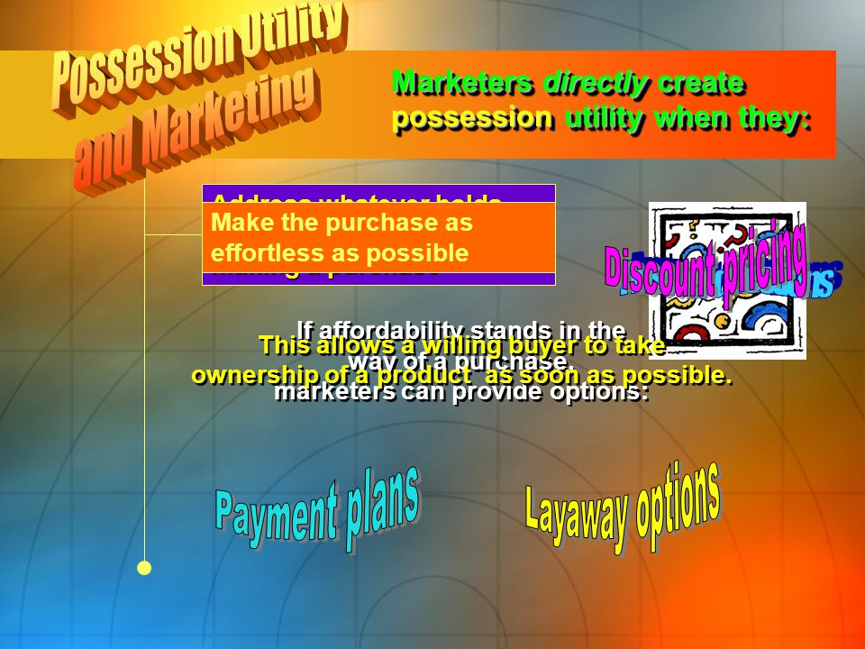 Possession Utility and Marketing Discount pricing Answer questions