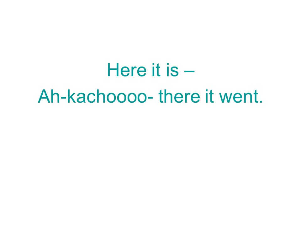 Ah-kachoooo- there it went.