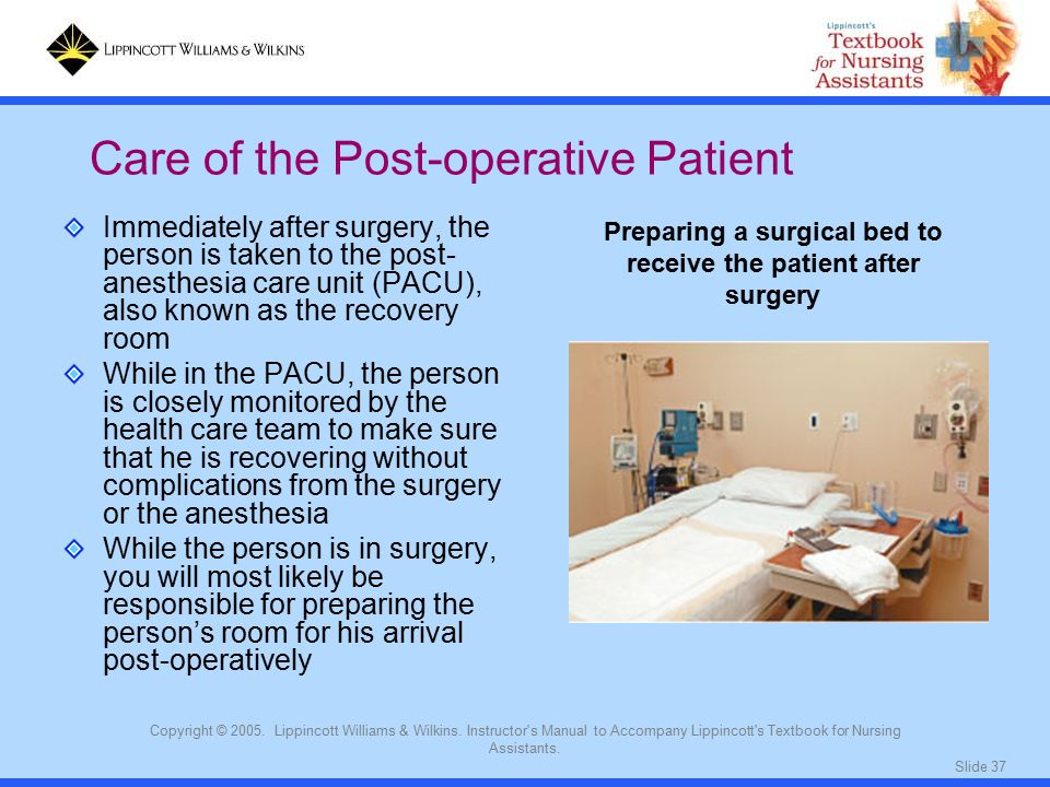 monitoring the post operative patient after