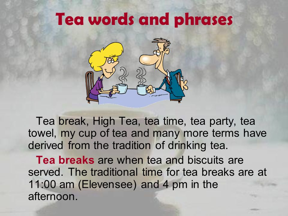 Tea words and phrases