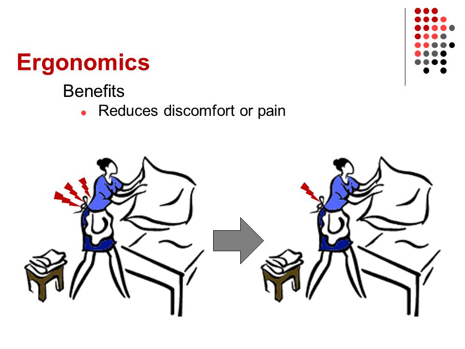 Ergonomics Benefits Reduces discomfort or pain Person
