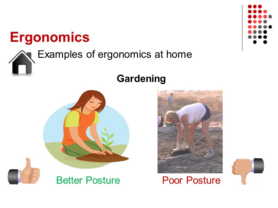 Ergonomics Examples of ergonomics at home Gardening Better Posture