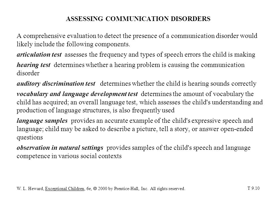 ASSESSING COMMUNICATION DISORDERS