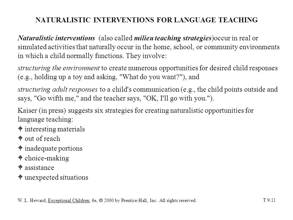 NATURALISTIC INTERVENTIONS FOR LANGUAGE TEACHING
