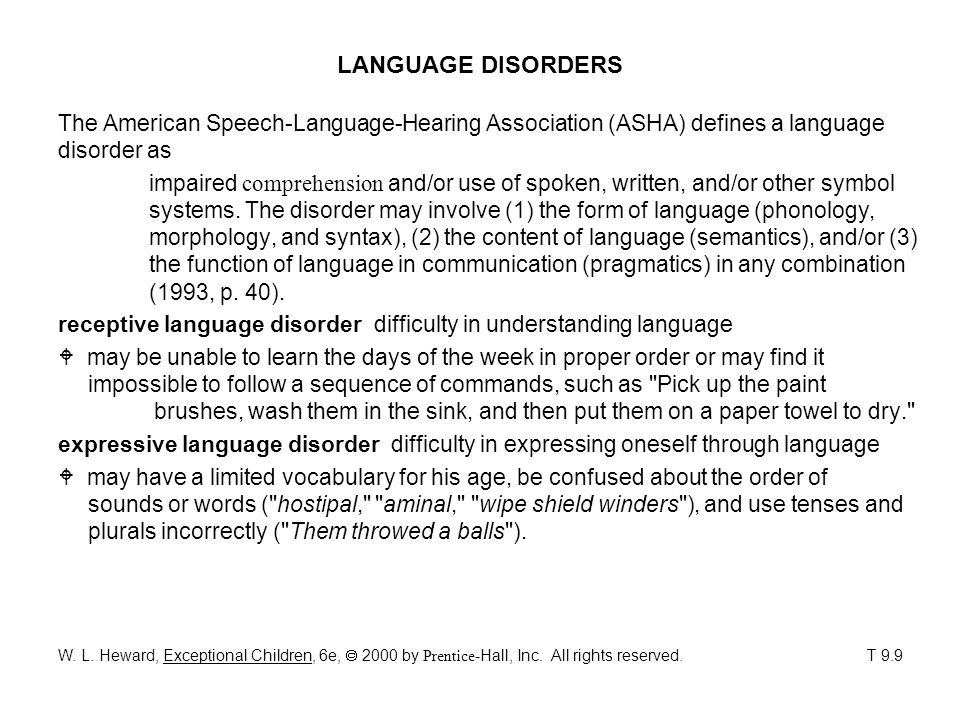 LANGUAGE DISORDERS The American Speech-Language-Hearing Association (ASHA) defines a language disorder as.