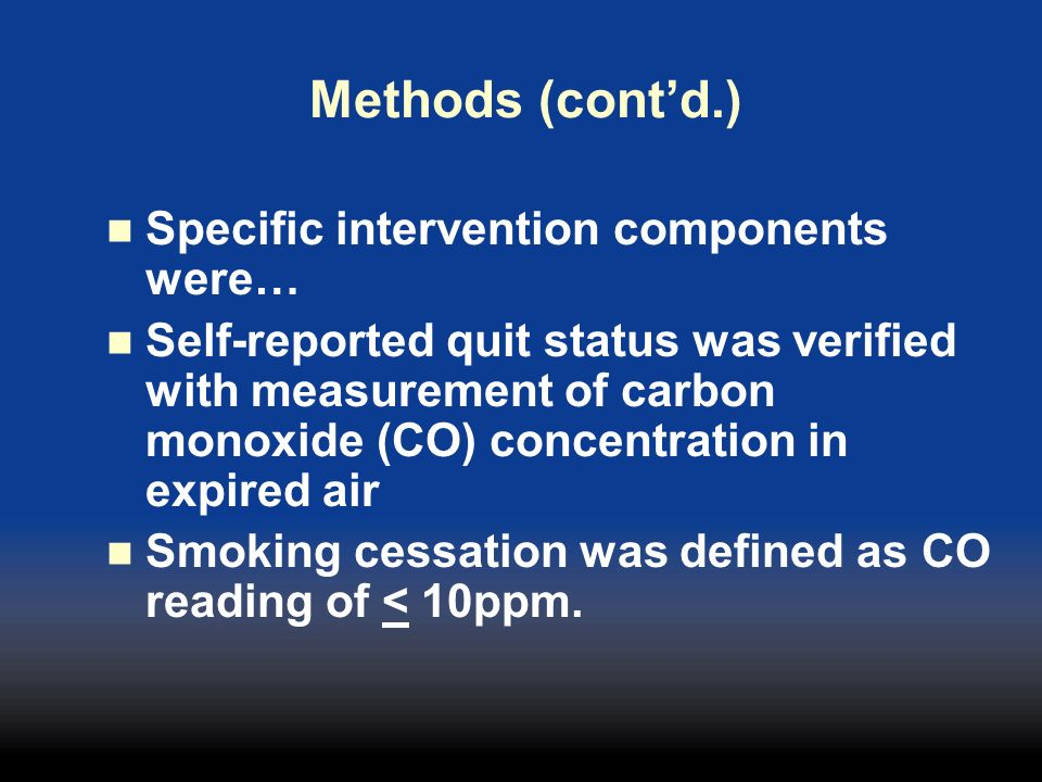 Methods (cont'd.) Specific intervention components were…