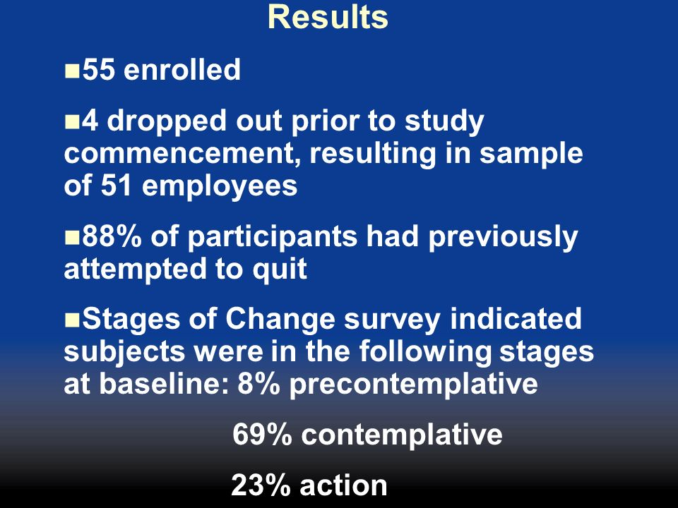 Results 55 enrolled. 4 dropped out prior to study commencement, resulting in sample of 51 employees.