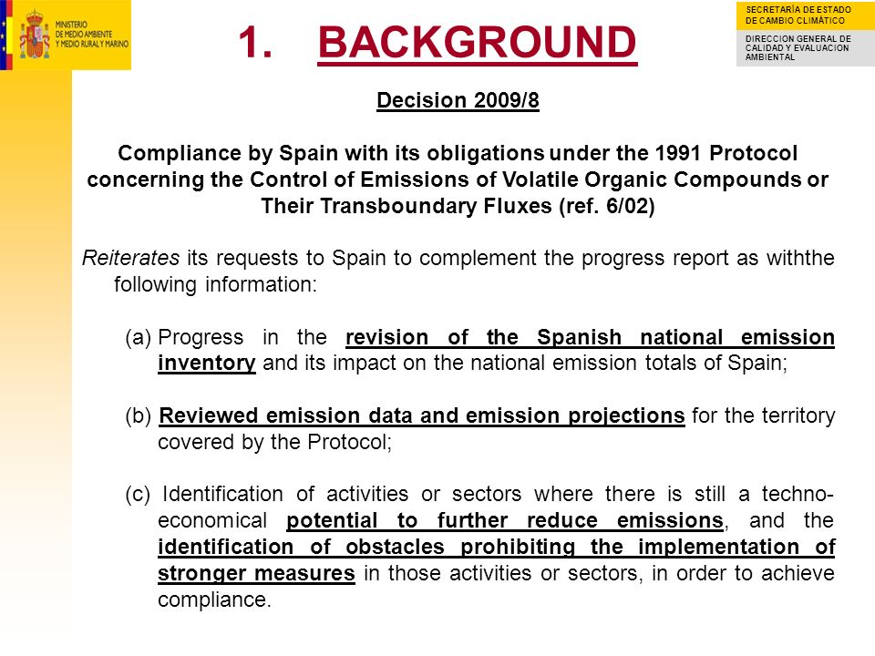 Decision 2009/8 Compliance by Spain with its obligations under the 1991 Protocol.