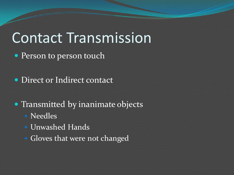Contact Transmission Person to person touch Direct or Indirect contact
