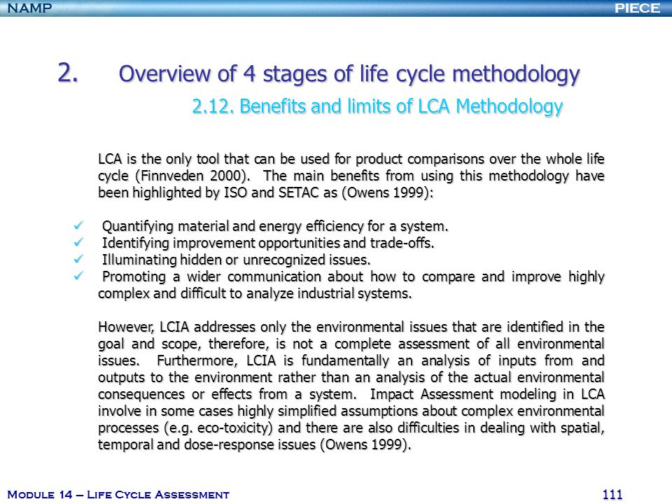 2. Overview of 4 stages of life cycle methodology. 2. 12