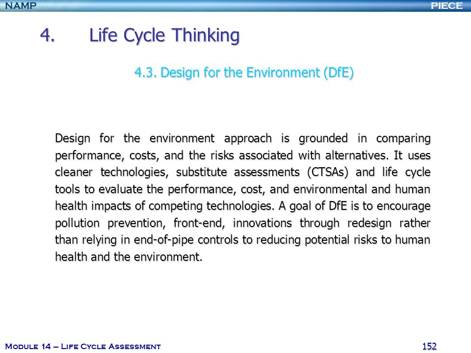 4. Life Cycle Thinking 4.3. Design for the Environment (DfE)