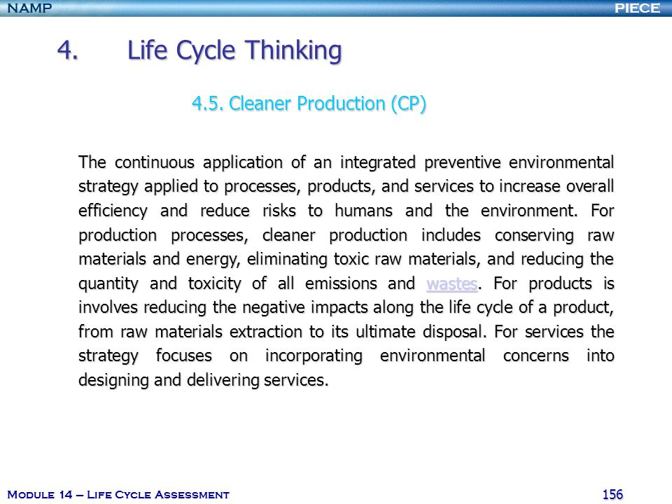 4. Life Cycle Thinking 4.5. Cleaner Production (CP)