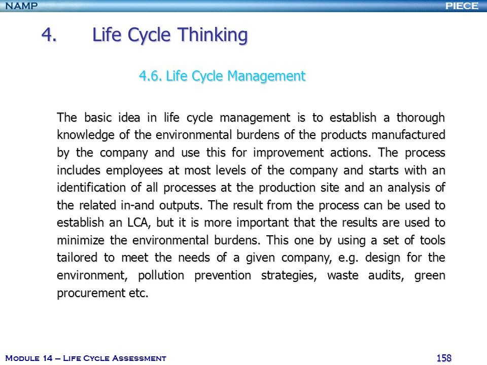 4. Life Cycle Thinking 4.6. Life Cycle Management