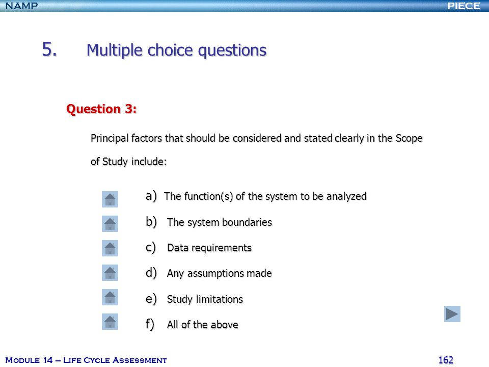 5. Multiple choice questions