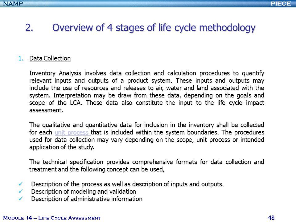 Overview of 4 stages of life cycle methodology