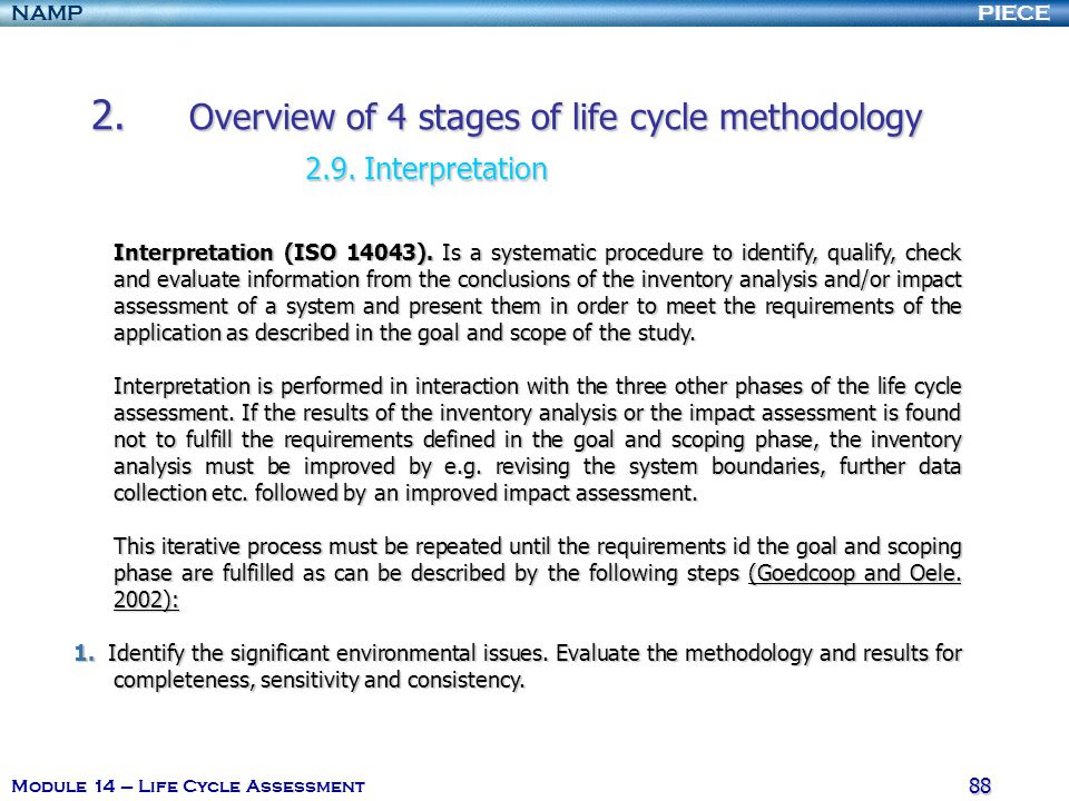 2. Overview of 4 stages of life cycle methodology 2.9. Interpretation
