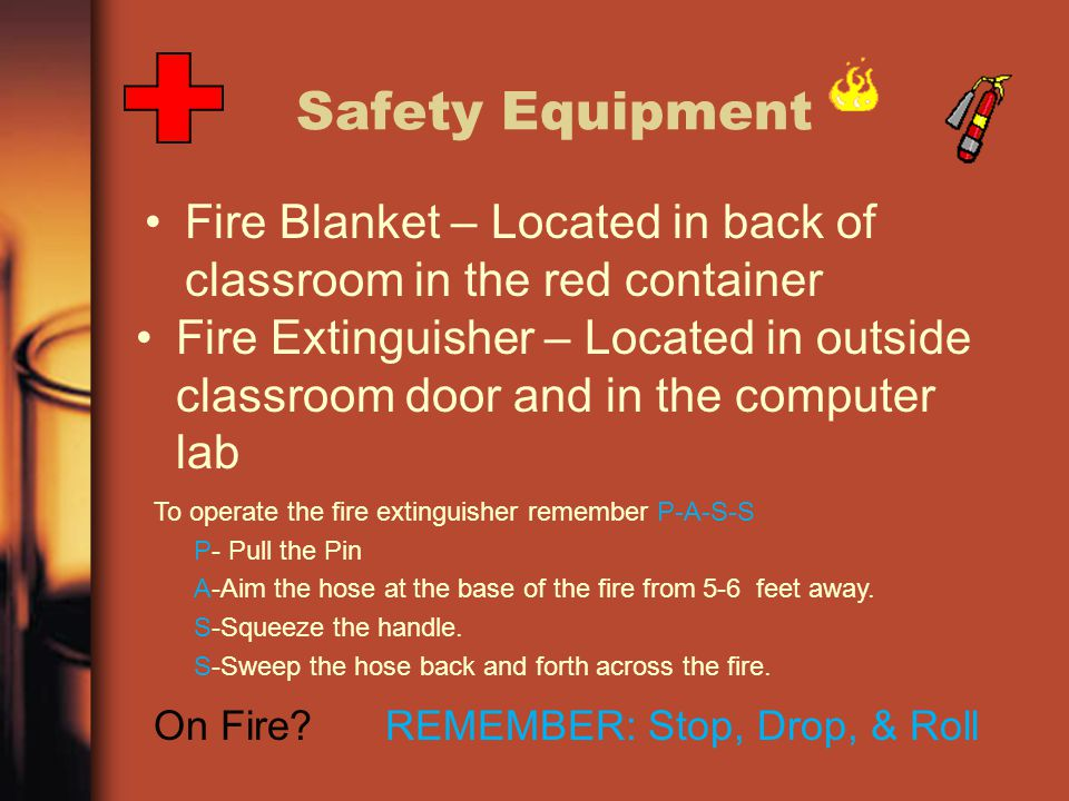 Safety Equipment Fire Blanket – Located in back of classroom in the red container.