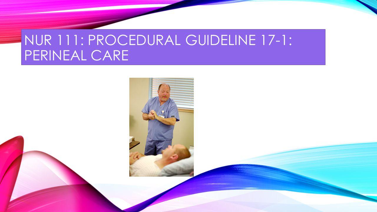NUR 111: procedural guideline 17-1: perineal care