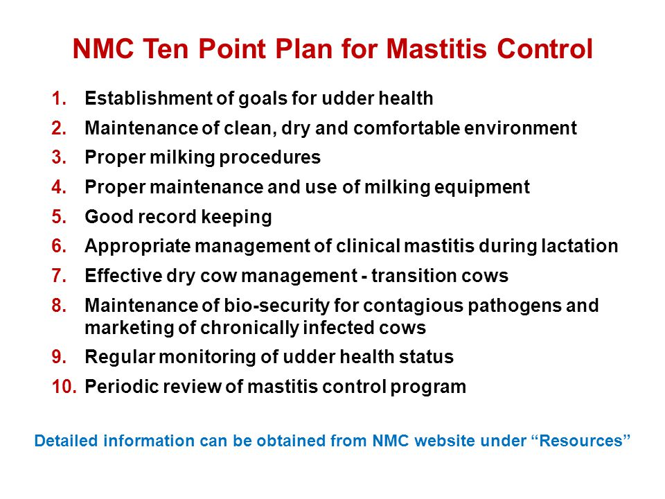 NMC Ten Point Plan for Mastitis Control