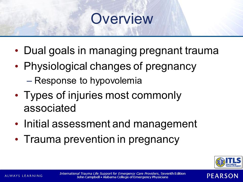Trauma in Pregnancy Unique challenges Dual roles