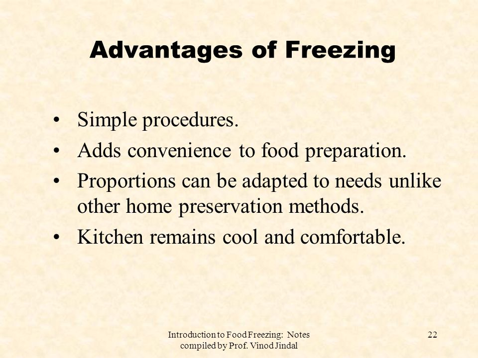 Advantages of Freezing