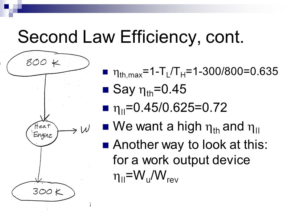 Second Law Efficiency, cont.