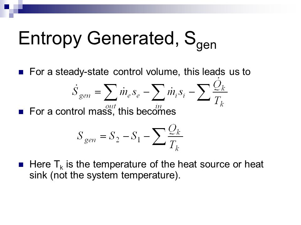 Entropy Generated, Sgen