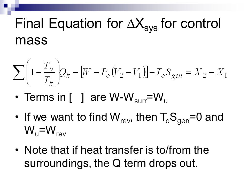 Final Equation for DXsys for control mass