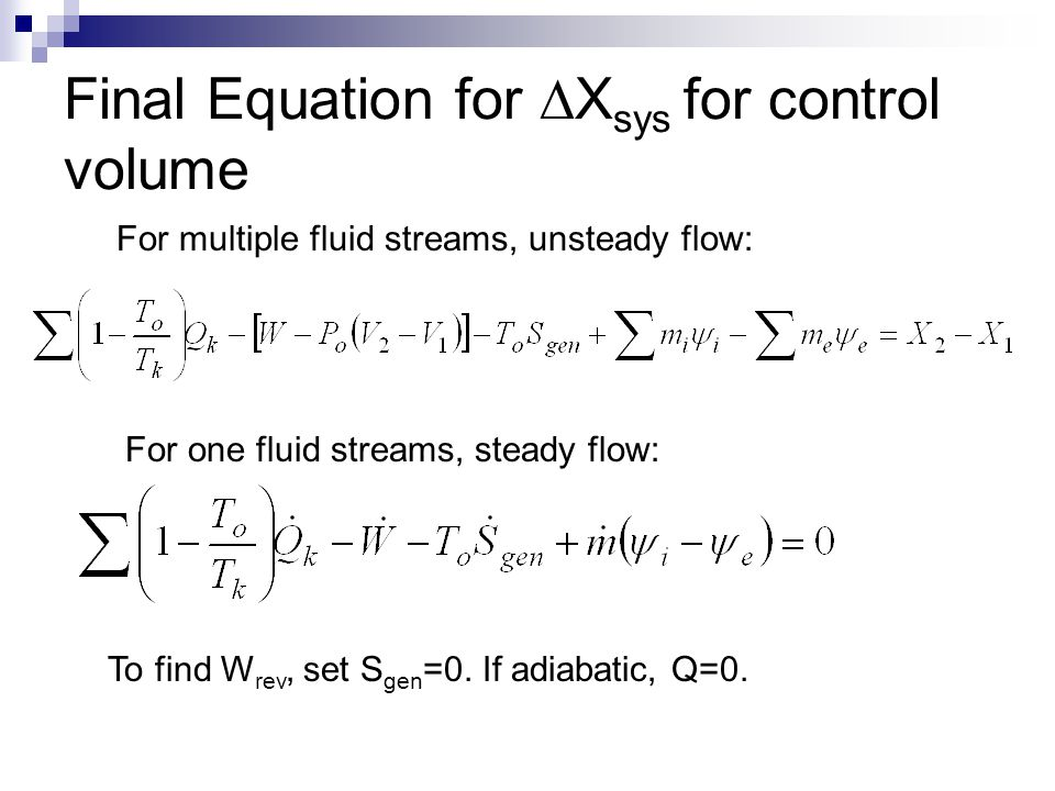 Final Equation for DXsys for control volume
